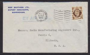 Great Britain Sc 248 perfin K.B / B on 1948 Cover to US