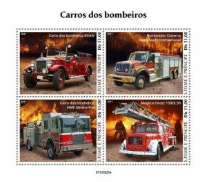 St Thomas - 2021 Fire Engine Transports - 4 Stamp Sheet - ST210225a