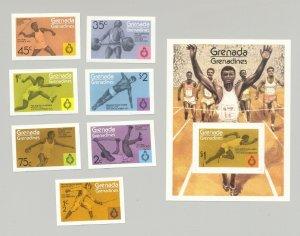 Grenada Grenadines 1975 #101-108 Sports 7v & 1v s/s imperf proofs