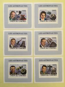 Comoro Islands 2008 Astronauts Space Military Famous People 6 S/S Stamps MNH