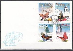 Cuba, Scott cat. 4031-4034. Tourism & Butterflies issue. First day cover. ^
