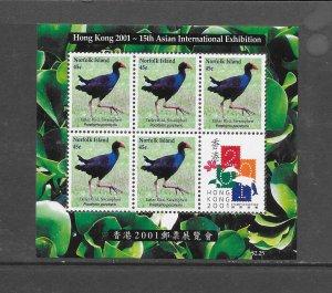 BIRDS - NORFOLK ISLAND #720  HONG KONG 2001  MNH