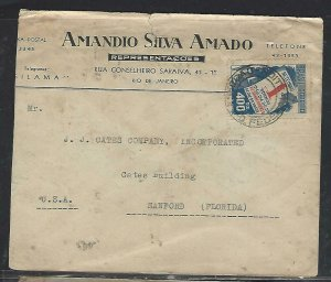 BRAZIL COVER (PP0611B) 400RS AD COVER RIO TO USA