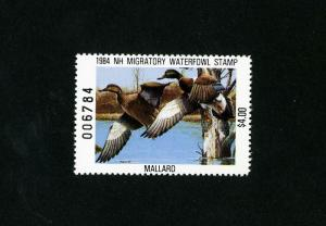 US Stamps # NH 2A XF OG NH New Hampshire $4 Duck Stamp Scott Value $75.00