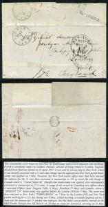 Bahamas 1857 Harbour Island well-travelled cover to UK Mis-sent to Canada