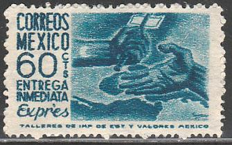 MEXICO E11, 60¢ Hands of paynani, Special Delivery. UNUSED, HINGED, OG. F-VF.