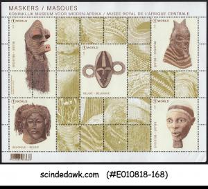 BELGIUM - 2017 THE MASKS FROM THE ROYAL AFRICAN MUSEUM MIN. SHEET MNH