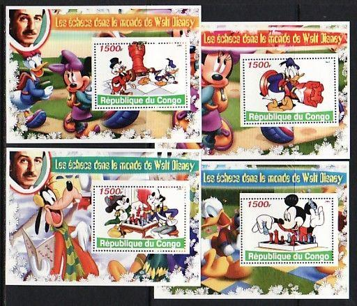 Congo Rep., 2005 Cinderella issue. Walt Disney Cartoons & Chess on 4 s/sheets.