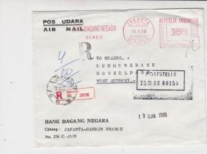 Indonesia 1980 Bank Dagang Negara Airmail Regd to Commerzbank Stamp Cover  29722