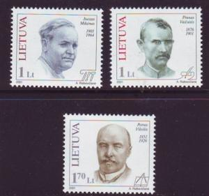 Lithuania Sc 688-90 2001 Famous Lithuanians stamp set mint NH