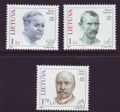 Lithuania Sc688-0 2001 Famous Lithuanians stamp NH