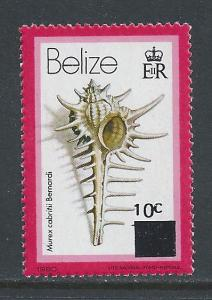 Belize #423 NH Shell Defin. Surcharged 10c on 15c