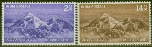 India 1953 Everest set of 2 SG344-345 Fine Mtd Mint