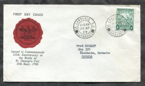p301 - BARBADOS 1949 FDC Cover. St Lawrence SO Postmark. Cachet. St George's Cay