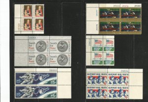 USA Stamps #1321,1326,1332b,1325,1338,1342 Plate Blocks of 4