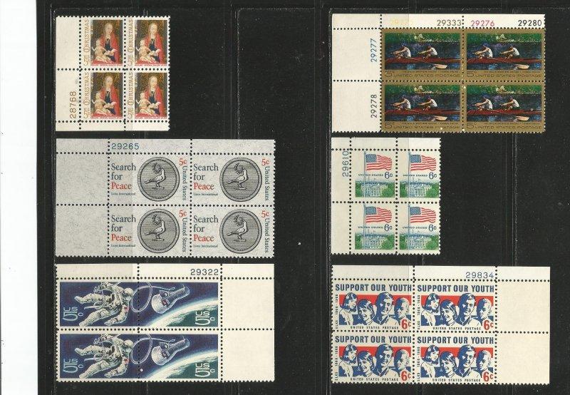 USA Stamps #1321,1326,1332b,1325,1338,1342 Plate Blocks of 4