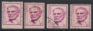 Australia  Sc# 456 Adan Lindsay Gordon Used x4  Booklet stamps see details