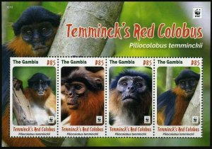 Gambia 2016 monkeys WWF collective s/s MNH