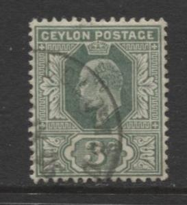 CEYLON -Scott 179- KEVII - Definitive- 1904- Wmk 3 - Used -Single 3c Stamp