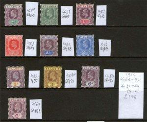 St Lucia 1904 KGV SG 64-73 or SC 50-54,57-61 MH