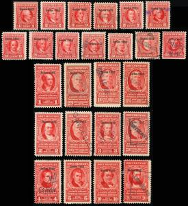 R586-610,  25 Documentary Revenue Stamps Cat $402.75 - Stuart Katz