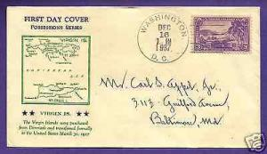 802  VIRGIN ISLANDS 3c 1937,  HOLLAND SECOND DAY OF ISS...