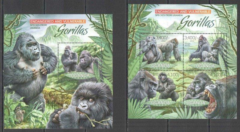 UG028 2012 UGANDA GORILLAS PRIMATES ENDANGERED & VULNERABLE #2990-3+BL411 MNH