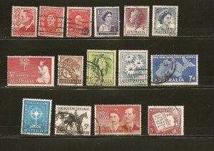 Australia Lot of 15 Different Older Pre-Decimal Stamps Used