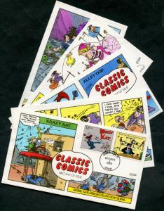 #3000a-t (17) DIFF CLASSIC COMICS HAND PAINTED FDC CACHET BY COLLINS BP7743