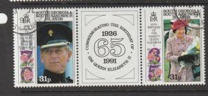 South Georgia 1991 QE2 65th Birthday pair VFU/CTO SG 201a