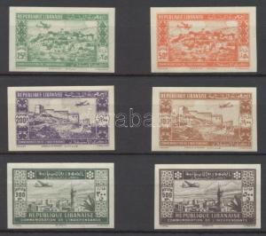 Lebanon stamp Airmail imperforated set Signed: Sanabria 1943 WS212443