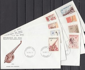 Mali, Scott cat. 205-212. Native Musical Instruments issue. 8 First day cover. ^