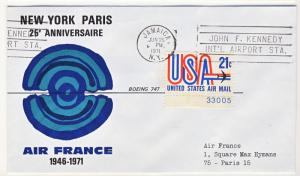 US - 1971 - Scott C81 on Air France NYC-PARIS flights 25th Anniversary Cover