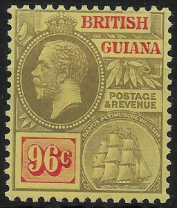 BRITISH GUIANA SG269c 1921 96c BLACK & VERMILION ON PALE YELLOW MTD MINT