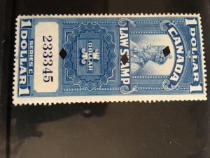 Canada Revenue - VD #FSC 18 F+ Usual Punch Cancel 1935 $1. Law Stamp - Cat. $9.