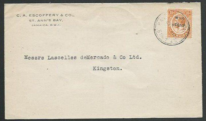JAMAICA 1919 local cover 1½d War Tax : St Ann's Bay cds....................59451