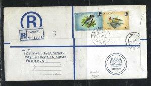 LESOTHO (PP0310B) 1989 LONG RLE+ 16S  BIRD+55S BIRD MASERU TO SOUTH AFRICA