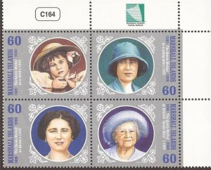 Marshall Islands - 2000 Queen Mother - 4 Stamp Block - Scott #755