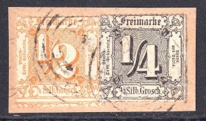 THURN & TAXIS 21, 23 LIGHT CANCELS F/VF SOUND $438 SCV ON PIECE ROULETTES