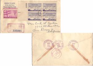 United States California San Diego (North Park Sta.) Registered 1945 violet d...
