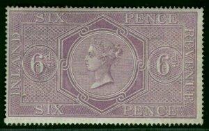 GB QV Stamp SG.F17 6d Postal Fiscal Fine Mint LMM (1867) Cat £110+ RRED23
