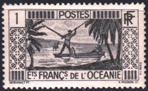 French polynesia. 1934. 89 from the series. Fishermen. MNH.