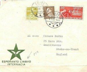 DENMARK Cover ESPERANTO CONGRESS CINDERELLA Aarhus GB Stoke 1962 BE153