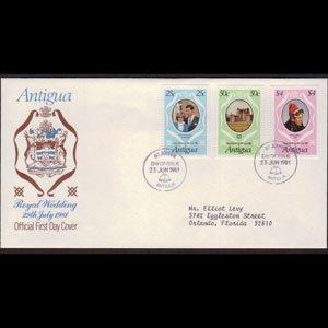 ANTIGUA 1981 - FDC - 623-5 Royal Wedding