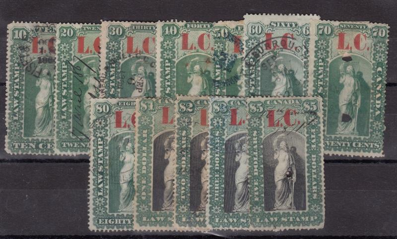 Canada QV Law Stamp Collection To $5 VFU X8717