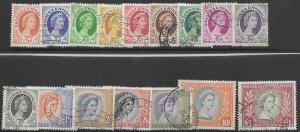 Rhodesia & Nyasaland 141-55    1954  set 16  FVF Used