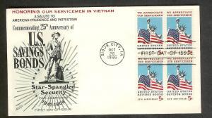 UNITED STATES FDC 5¢ Savings Bonds BLK 1966 Fleetwood