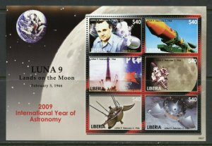 LIBERIA LUNA 9 LANDS ON THE MOON 2009 INT'L YEAR OF ASTRONOMY  SHEET MINT NH