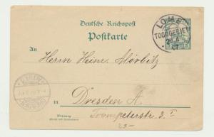 TOGO GERMAN COLS 1907 5pf CARD, LOME TO DRESDEN (SEE BELOW)