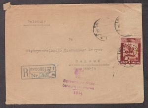 Poland - 1945 Registered POW Red Cross censored cover mailed to Geneva, Swiss
